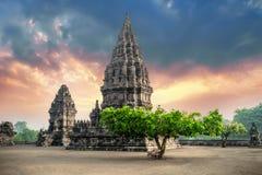 Amazing Prambanan Temple against sunrise sky. Indonesia royalty free stock photo