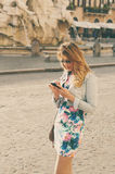 Amazing pretty woman talking on her mobile phone in piazza Navon Stock Image