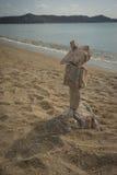 Amazing pyramid of stones on the beach in Schinias, Attica, Gree Royalty Free Stock Photos