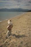 Amazing pyramid of stones on the beach in Schinias, Attica, Gree Royalty Free Stock Photo