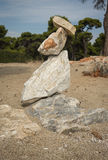 Amazing pyramid of stones on the beach in Schinias, Attica, Gree Stock Photography
