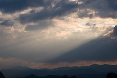 Amazing ray of sunlight and sky above Chinese mountain Royalty Free Stock Photography