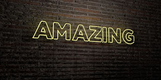 AMAZING -Realistic Neon Sign on Brick Wall background - 3D rendered royalty free stock image Stock Photos