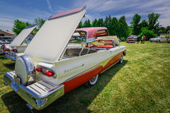 Amazing rear side view of classic vintage retro cars with open roof. Milton, Ontario, Canada, June 18, 2016, amazing beautiful spectacular car show in the Royalty Free Stock Photo