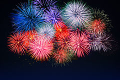 Amazing red, golden, blue fireworks over night sky Stock Photo