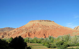 Amazing red mountain and green froest at the bottom Royalty Free Stock Image