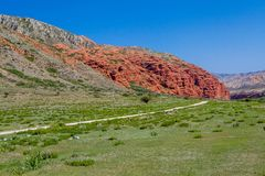 Amazing red rock formations in Kirghizia Stock Photography