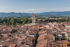 Amazing red rooftops of Lucca at Tuscany in Italy stock photo