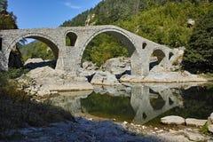 Amazing Reflection of Devil's Bridge in Arda river,  Bulgaria Stock Image