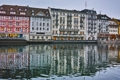 Amazing reflection of old town in The Reuss River, Luzern, Switzerland Royalty Free Stock Image