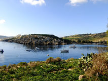 Amazing relaxing Panorama of Malta. Panorama of Hills and Water in the Country of Malta Stock Photos