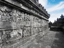 Amazing relief of Borobudur temple Royalty Free Stock Images