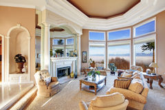 Amazing rich interior with stunning window view on mountains Stock Photo