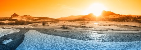 Amazing river in winter Royalty Free Stock Photo