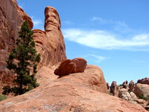 Amazing rock formatdons and hiking trail in Arches National Park Royalty Free Stock Photo