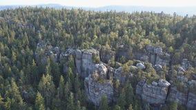 Amazing rock formation on Szczeliniec Wielki in Table Mountains National Park. Tourist attraction of Polish Sudetes. Rock formation on Szczeliniec Wielki in stock video footage