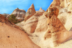 Amazing Rock Formations at Tent Rocks. Amazing rock formations in the slot canyon of Kasha Katuwe at Tent Rocks National Landmark in New Mexico Stock Images