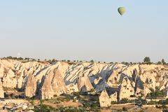 Hot air balloons flying over Cappadocia, Turkey royalty free stock images