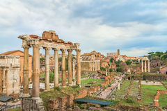 Amazing Roman Forum and Great Colosseum (Coliseum, Colosseo) Royalty Free Stock Photos