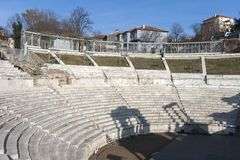 Ruins of Ancient Roman theater of Philippopolis in city of Plovdiv, Bulgaria. Amazing ruins of Ancient Roman theater of Philippopolis in city of Plovdiv royalty free stock image