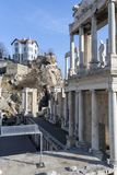Ruins of Ancient Roman theater of Philippopolis in city of Plovdiv, Bulgaria. Amazing ruins of Ancient Roman theater of Philippopolis in city of Plovdiv stock images