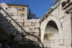 Ruins of Ancient Roman theater of Philippopolis in city of Plovdiv, Bulgaria. Amazing ruins of Ancient Roman theater of Philippopolis in city of Plovdiv royalty free stock images