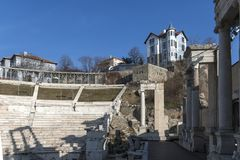 Ruins of Ancient Roman theater of Philippopolis in city of Plovdiv, Bulgaria. Amazing ruins of Ancient Roman theater of Philippopolis in city of Plovdiv royalty free stock photography