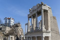 Ruins of Ancient Roman theater of Philippopolis in city of Plovdiv, Bulgaria. Amazing ruins of Ancient Roman theater of Philippopolis in city of Plovdiv stock photography