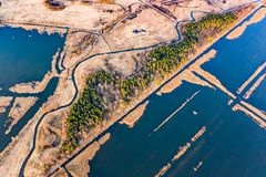 Amazing rural landscape. Peat bogs covered with water, aerial scenery. Ecology concept. Amazing rural landscape. Peat bogs covered with waters, aerial scenery royalty free stock photography