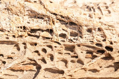 Amazing sandstone texture in Kolymbithres beach, Paros island, Royalty Free Stock Image