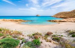 Amazing sandy beach of Xerokampos, Sitia with turquoise waters at the East part of Crete island, Greece.  royalty free stock photography