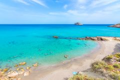 Amazing sandy beach of Xerokampos, Sitia with turquoise waters at the East part of Crete island, Greece.  stock photo
