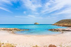 Amazing sandy beach of Xerokampos, Sitia with turquoise waters at the East part of Crete island, Greece.  royalty free stock images