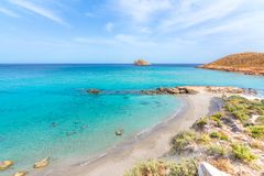 Amazing sandy beach of Xerokampos, Sitia with turquoise waters at the East part of Crete island, Greece.  stock image