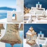 Amazing Santorini - artwork in retro style Royalty Free Stock Photo