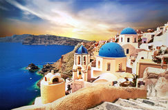 Free Amazing Santorini Over Sunrise. View Of Oia Village With Famous Stock Photo - 89800540