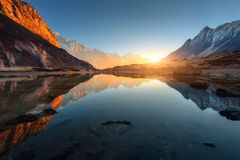Amazing scene with Himalayan mountains Royalty Free Stock Images