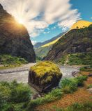 Amazing scene with mountains, beautiful river at sunset Stock Photos