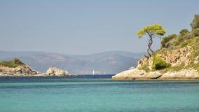 Amazing scenery Aegean Sea rocky coast view Sithonia, Halkidiki, Greece. Beautiful turquoise sea stock photos