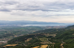 Amazing scenery down to the valley and sea, near Lamia, Greece Royalty Free Stock Photo