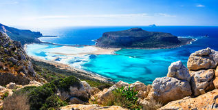 Amazing scenery of Greek islands - Balos bay in Crete. Panoramic view of Balos bay,Crete island,Greece Royalty Free Stock Photography