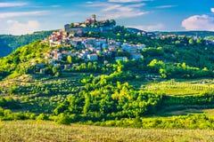 Amazing scenery in Istria region, Motovun. Scenic view at famous Motovun town in Istria region, luxury travel destination in Croatia, Europe stock photography