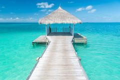 Amazing scenery, Maldives paradise background concept. Wooden water bungalow or hut with infinity sea view. Summer vacation stock photography