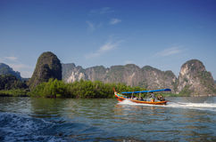 Amazing scenery of National Park in Phang Nga Bay with tourist b. Oat, Thailand Stock Photography