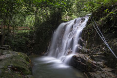 Amazing scenery of tropical waterfall flowing through the beautiful green forest stock photography