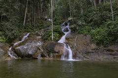 Amazing scenery of tropical waterfall flowing through the beautiful green forest. Background stock photo