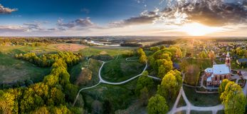 Amazing scenic aerial panorama landscape of Kernave stock images