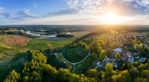 scenic aerial panorama landscape of Kernave stock photo