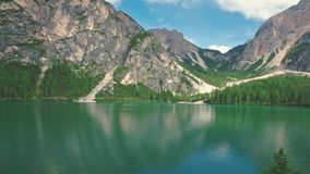 Amazing scenic view of Lago di Braies, South Tyrol stock footage