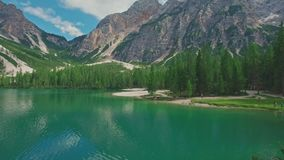 Amazing scenic view of Lago di Braies, South Tyrol stock video
